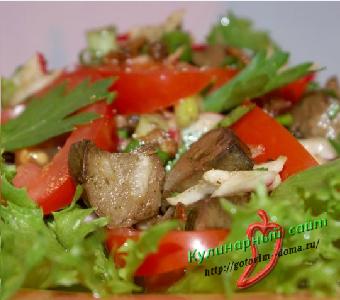 Салатик с жареным мясом готовим дома