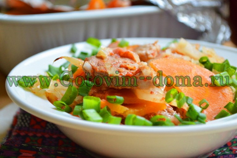 Духовая свинина с капустой и морковью Готовим дома
