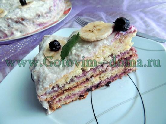 Ягодный торт с бананами Готовим дома